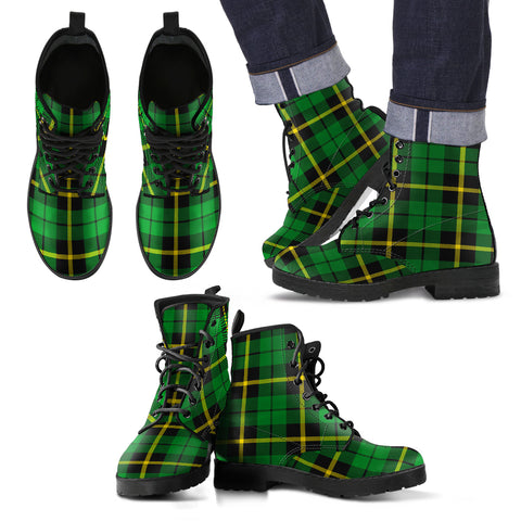 Image of Wallace Hunting - Green Tartan Leather Boots Footwear Shoes