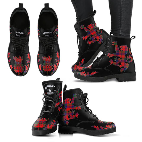 Robertson Modern Tartan Leather Boots Lion And Thistle