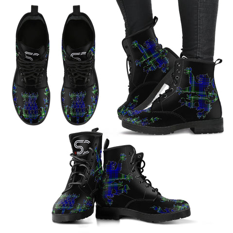 Arbuthnot Modern Tartan Leather Boots Lion And Thistle