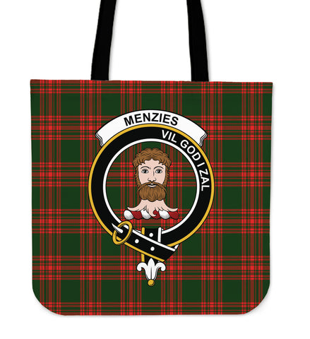 Tartan Tote Bag - Menzies Green Modern Clan Badge | Special Custom Design