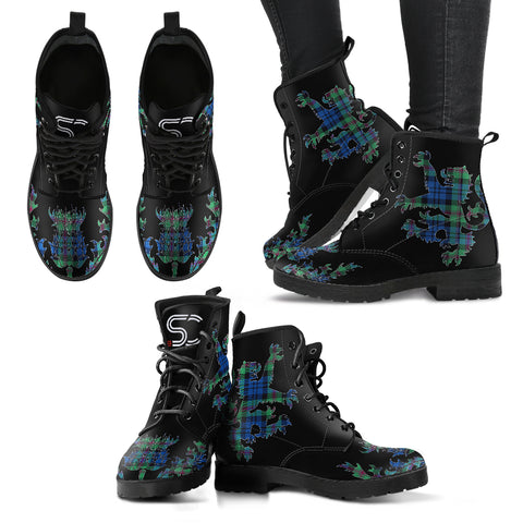 Baird Ancient Tartan Leather Boots Lion And Thistle