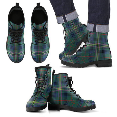 Image of Kennedy Modern Tartan Leather Boots Footwear Shoes