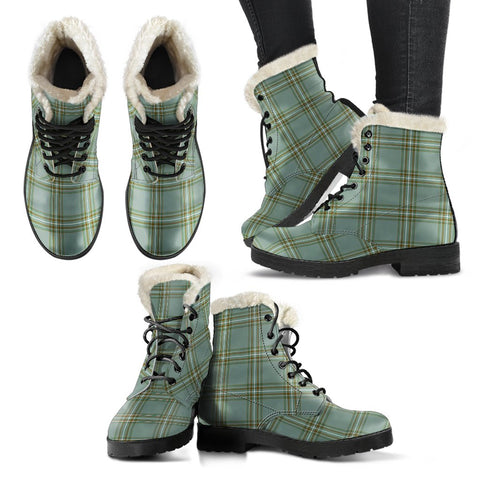 Image of Kelly Dress Tartan Faux Fur Leather Boots