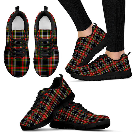 Stewart Black, Women's Sneakers, Tartan Sneakers, Clan Badge Tartan Sneakers, Shoes, Footwears, Scotland Shoes, Scottish Shoes, Clans Shoes