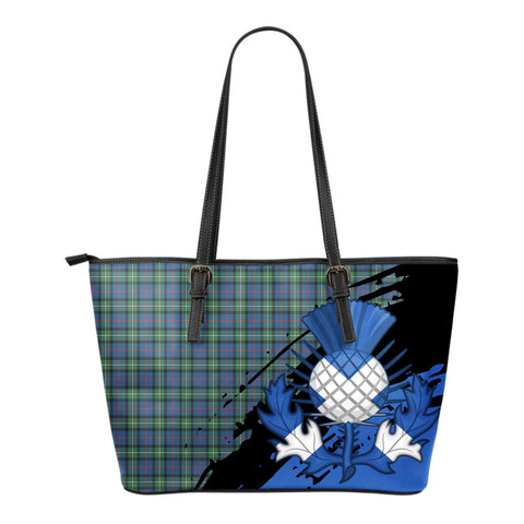 MacPhail Hunting Ancient  Leather Tote Bag Small | Tartan Bags