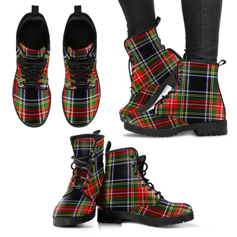 Stewart Black Tartan Leather Boots A9