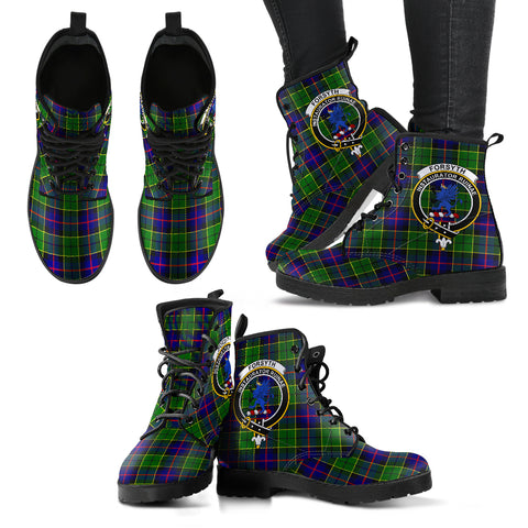 Forsyth Modern Tartan Clan Badge Leather Boots A9