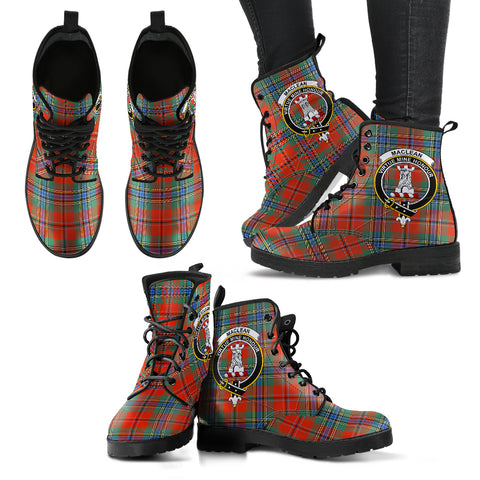 MacLean of Duart Ancient Tartan Clan Badge Leather Boots A9