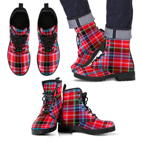 Image of Aberdeen District Tartan Leather Boots Footwear Shoes