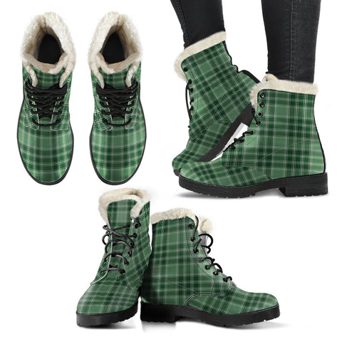 Macdonald Lord Of The Isles Hunting Tartan Faux Fur Leather Boots