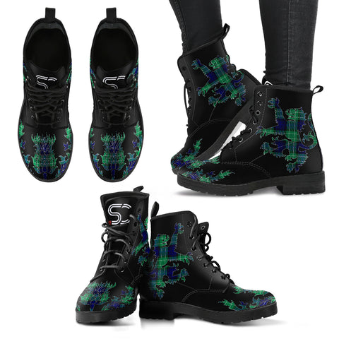 Image of Abercrombie Tartan Leather Boots Lion And Thistle