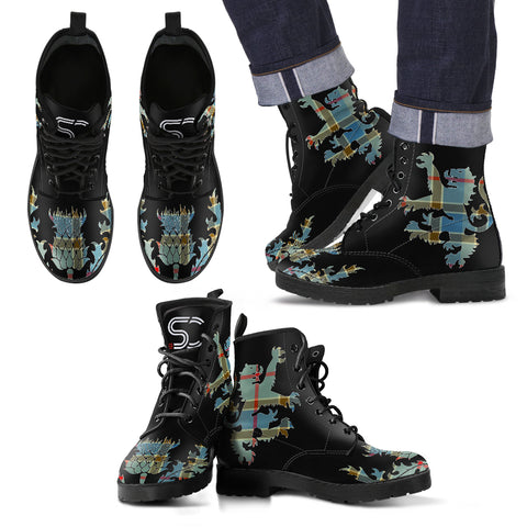 Balfour Blue Tartan Leather Boots Lion And Thistle TH8