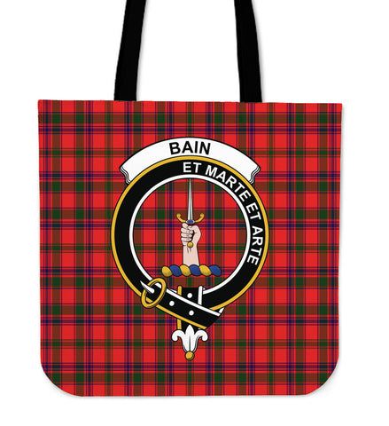Tartan Tote Bag - Bain Clan Badge | Special Custom Design
