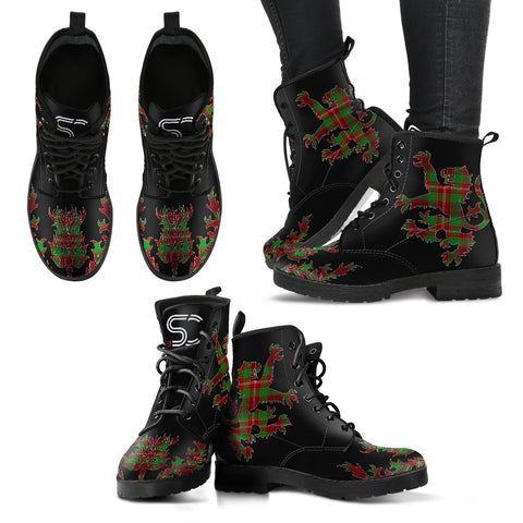 Ainslie Tartan Leather Boots Lion And Thistle
