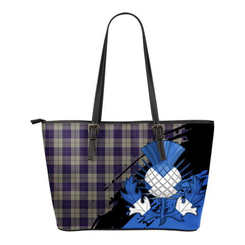 Cunningham Dress Blue Dancers Leather Tote Bag Small | Tartan Bags