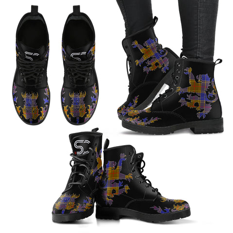 Balfour Modern Tartan Leather Boots Lion And Thistle