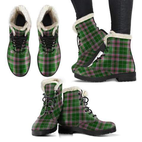 Gray Hunting Tartan Faux Fur Leather Boots