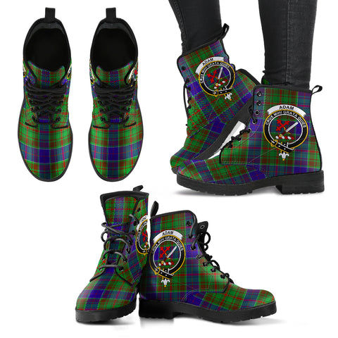 Adam Tartan Clan Badge Leather Boots A9