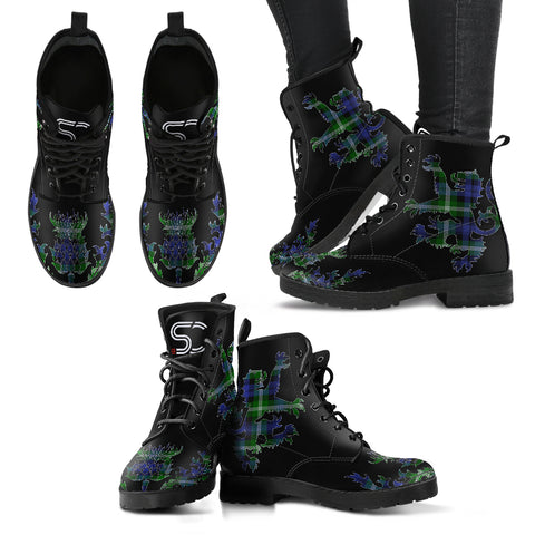 Baillie Modern Tartan Leather Boots Lion And Thistle