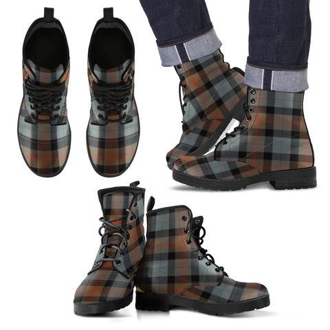 Image of Gunn Weathered Tartan Leather Boots Footwear Shoes