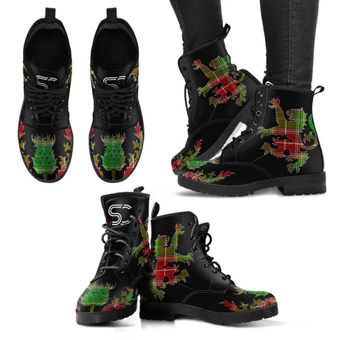 Baxter Modern Tartan Leather Boots Lion And Thistle