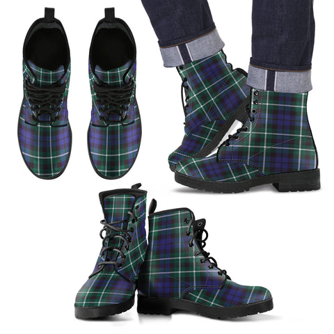 Image of Graham of Montrose Modern Tartan Leather Boots Footwear Shoes