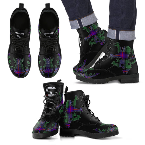 Armstrong Modern Tartan Leather Boots Lion And Thistle TH8