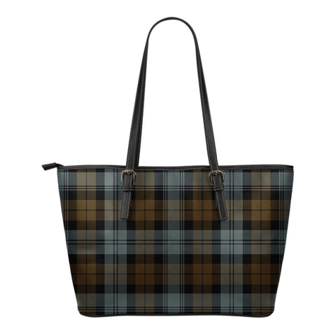 BlackWatch Weathered Tartan Leather Tote Bag (Small) | Over 500 Tartans | Special Custom Design