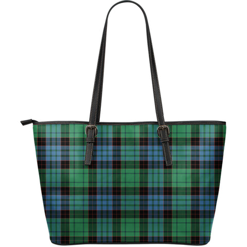 Stewart Old Ancient Tartan Leather Tote Bag (Large) | Over 500 Tartans | Special Custom Design