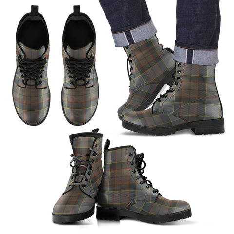 Image of Outlander Fraser Tartan Leather Boots Footwear Shoes