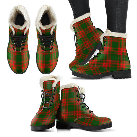 Image of Menzies Green Modern Tartan Faux Fur Leather Boots