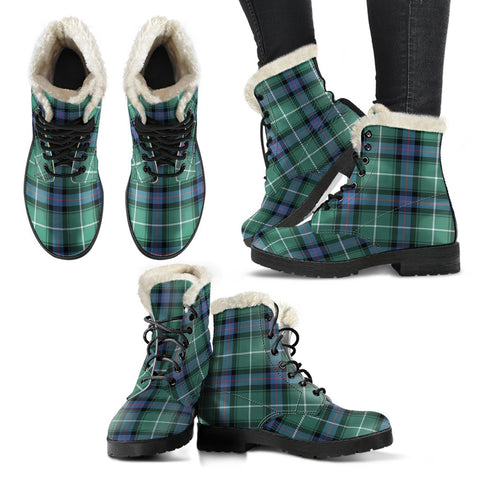 Macdonald Of The Isles Hunting Ancient Tartan Faux Fur Leather Boots