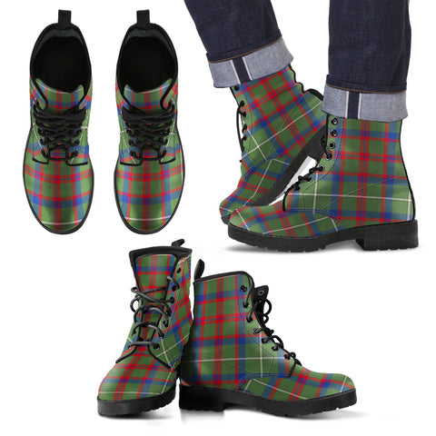 Shaw Green Modern Tartan Leather Boots Footwear Shoes