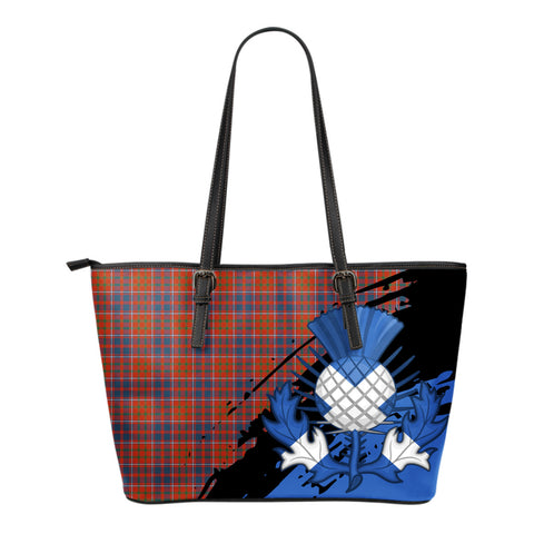 Cameron of Lochiel Ancient Leather Tote Bag Small | Tartan Bags