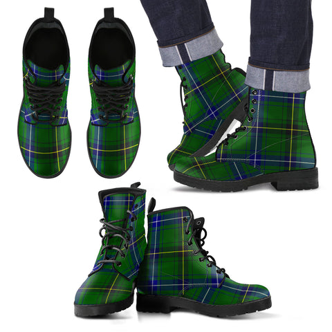 Henderson Modern Tartan Leather Boots Footwear Shoes