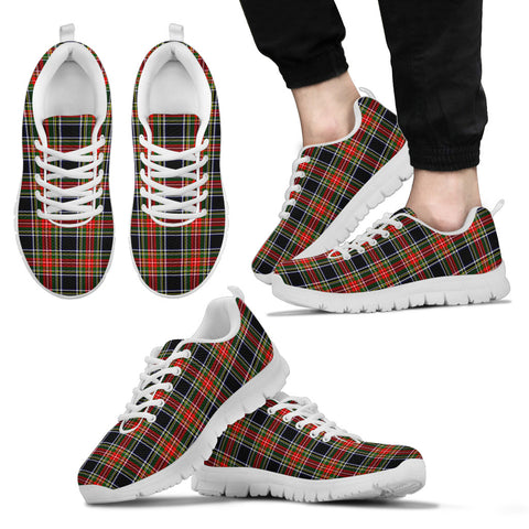 Stewart Black, Men's Sneakers, Tartan Sneakers, Clan Badge Tartan Sneakers, Shoes, Footwears, Scotland Shoes, Scottish Shoes, Clans Shoes