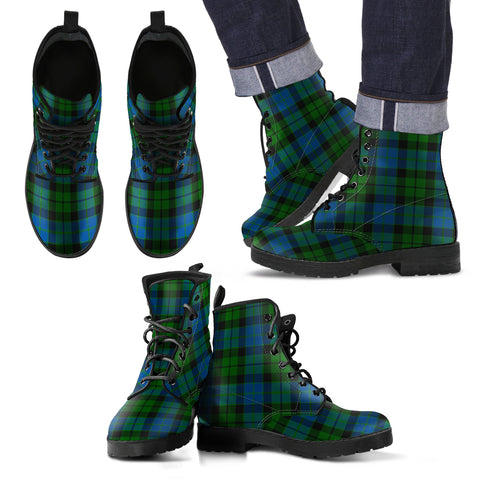 Image of MacKay Modern Tartan Leather Boots Footwear Shoes