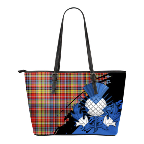 Drummond of Strathallan Leather Tote Bag Small | Tartan Bags