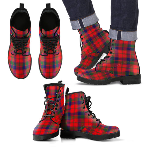 Image of Robertson Modern Tartan Leather Boots Footwear Shoes