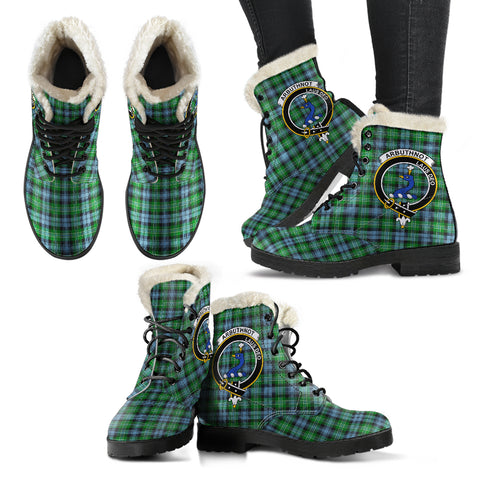 Image of Arbuthnott  Tartan Faux Fur Leather Boots