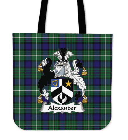 Tartan Tote Bag - Alexander Clan Badge | Special Custom Design