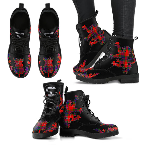 Fraser Modern Tartan Leather Boots Lion And Thistle