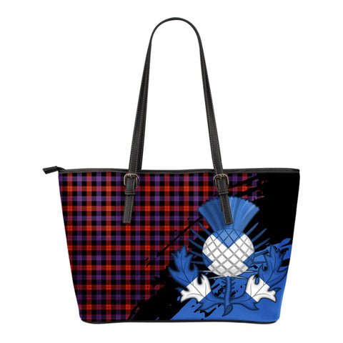 Brown Modern Leather Tote Bag Small | Tartan Bags