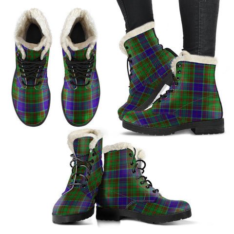 Image of Adam Tartan Faux Fur Leather Boots