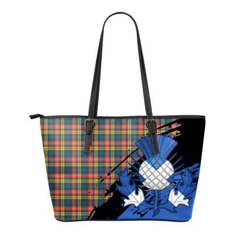 Buchanan Ancient Leather Tote Bag Small | Tartan Bags