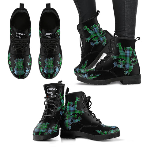 Arbuthnot Ancient Tartan Leather Boots Lion And Thistle