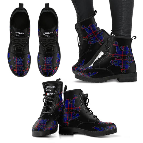 Home Modern Tartan Leather Boots Lion And Thistle
