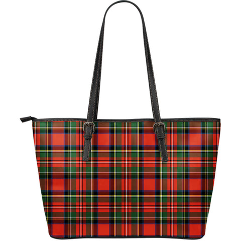 Stewart Royal Modern Tartan Leather Tote Bag (Large) | Over 500 Tartans | Special Custom Design