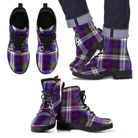Image of MacDonald Dress Modern Tartan Leather Boots Footwear Shoes