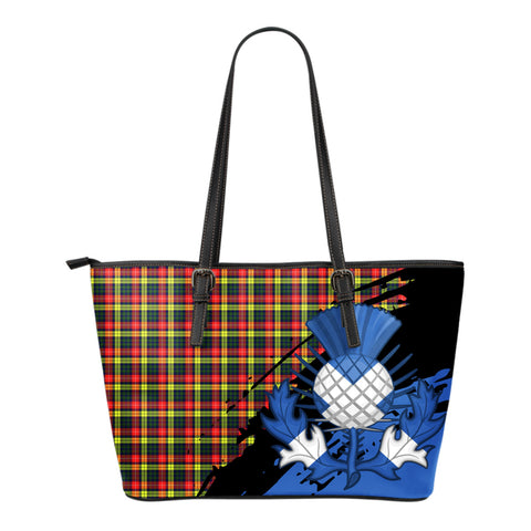 Buchanan Modern Leather Tote Bag Small | Tartan Bags